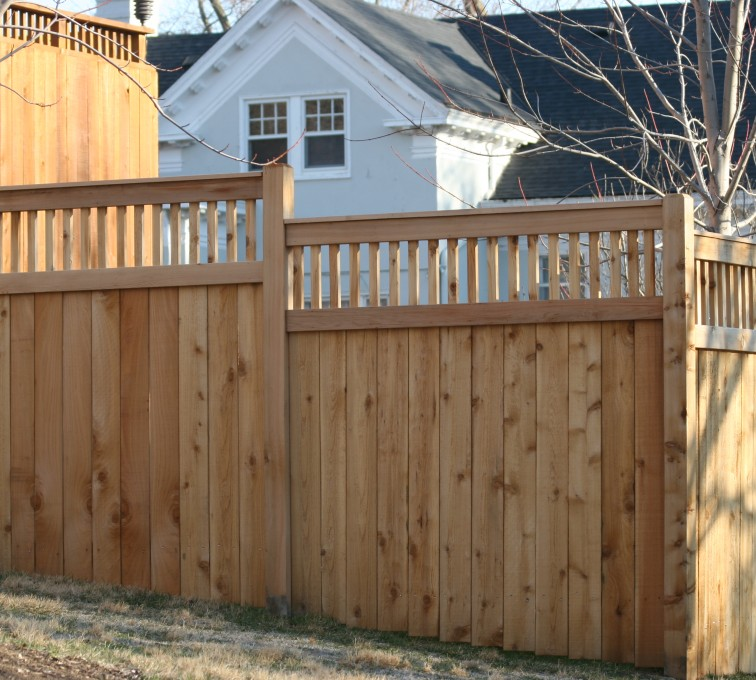 AFC Grand Island - Wood Fencing, 1056 Custom Solid with Accent Top