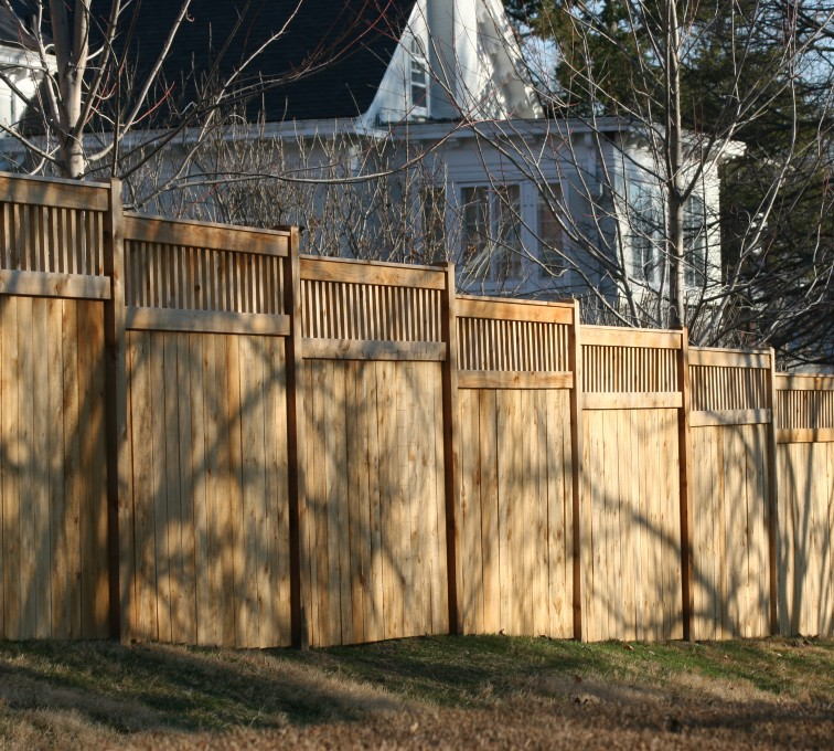 AFC Grand Island - Wood Fencing, 1057 Custom Solid with Accent Top