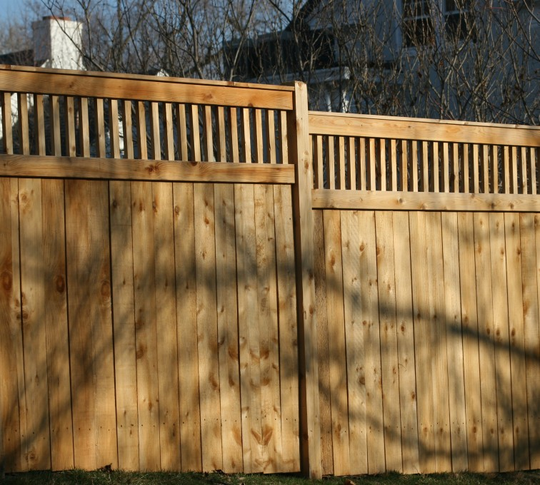 AFC Grand Island - Wood Fencing, 1058 Custom Solid with Accent Top