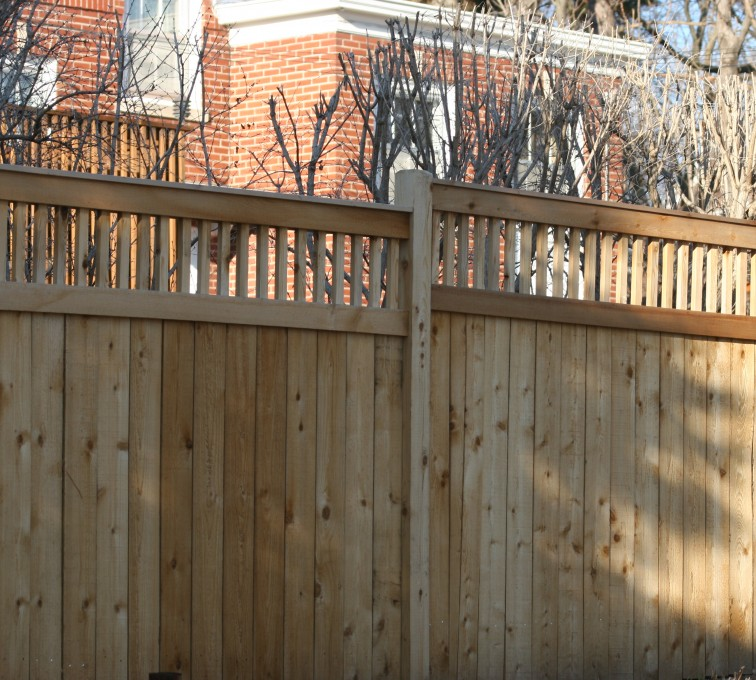AFC Grand Island - Wood Fencing, 1060 Custom Solid with Accent Top