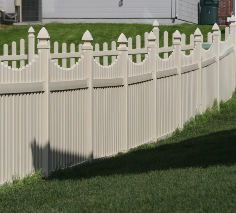 AFC Grand Island - Vinyl Fencing, 4' Picket Underscallop Tan 552