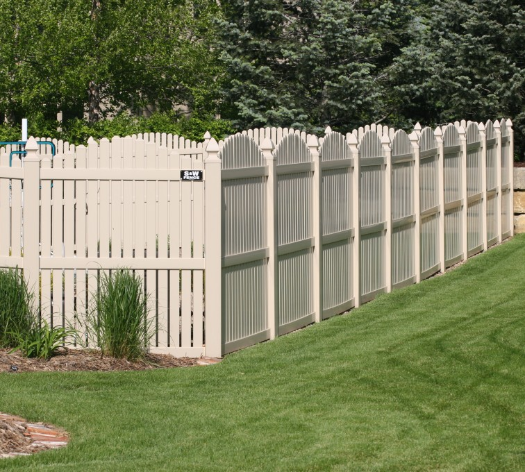 AFC Grand Island - Vinyl Fencing, 6' overscallop picket tan 554