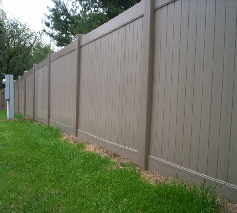 AFC Grand Island - Vinyl Fencing, 6' Woodland Select Weathered Cedar Solid Privacy - AFC - IA