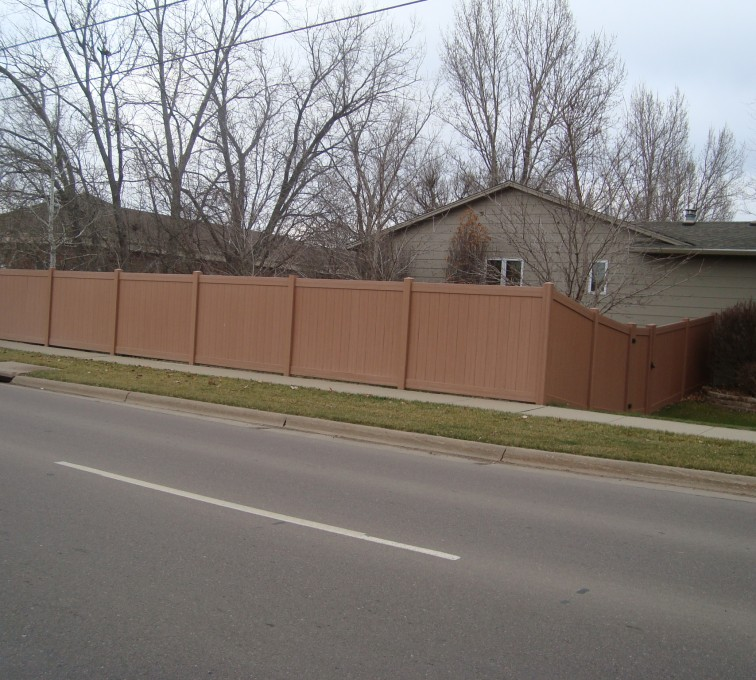 AFC Grand Island - Vinyl Fencing, Solid Privacy Cedar Tone
