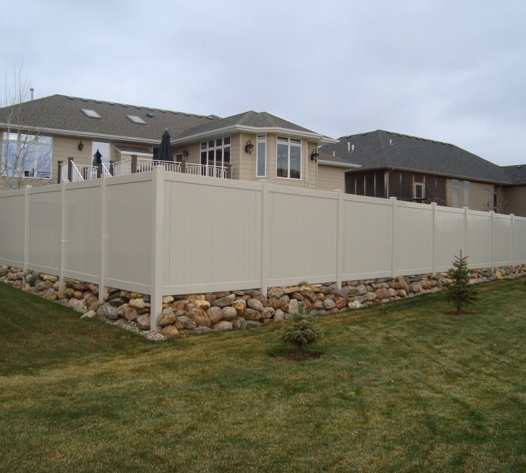 AFC Grand Island - Vinyl Fencing, Solid Privacy - Sandstone