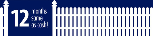 12 months same as cash white picket fence on dark blue background. Grand Island fence company fence contractors Nebraska financing options interest application form.