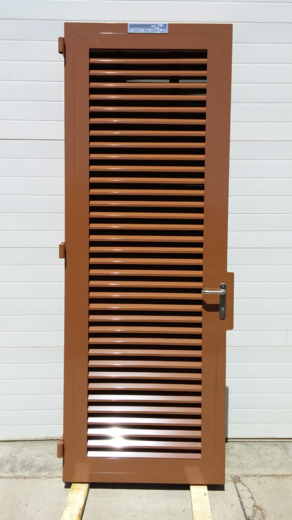Brown powder coated commercial pedestrian gate